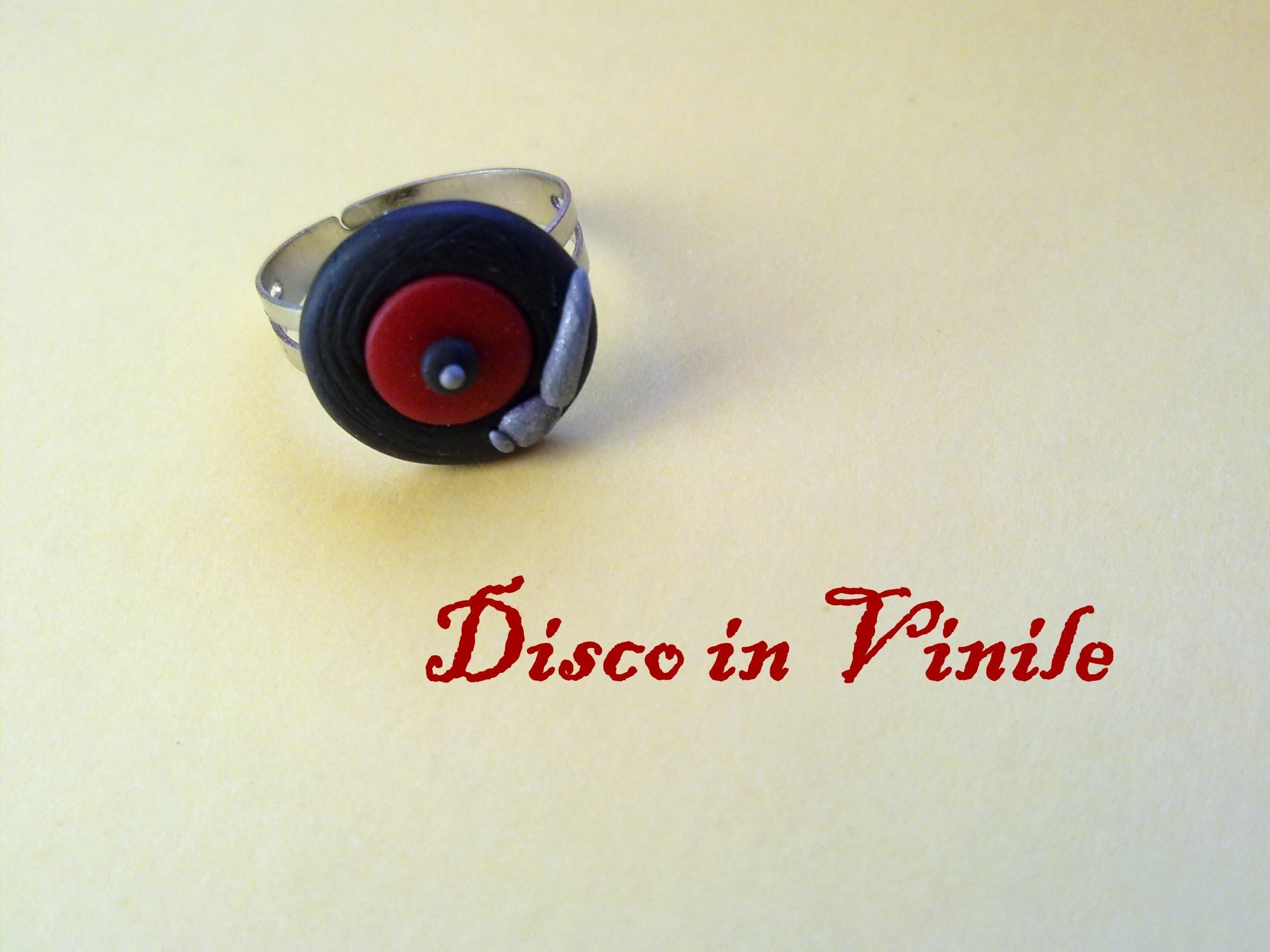 Disco in Vinile: Anello in Fimo e Cernit ♪ Vinyl Disc Ring (Polymer Clay)