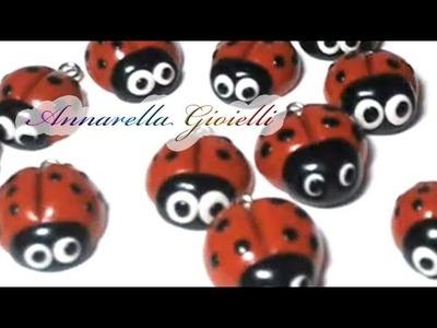 Prime creazioni in FIMO | Coccinelle e perle dorate | Polymer clay ladybug