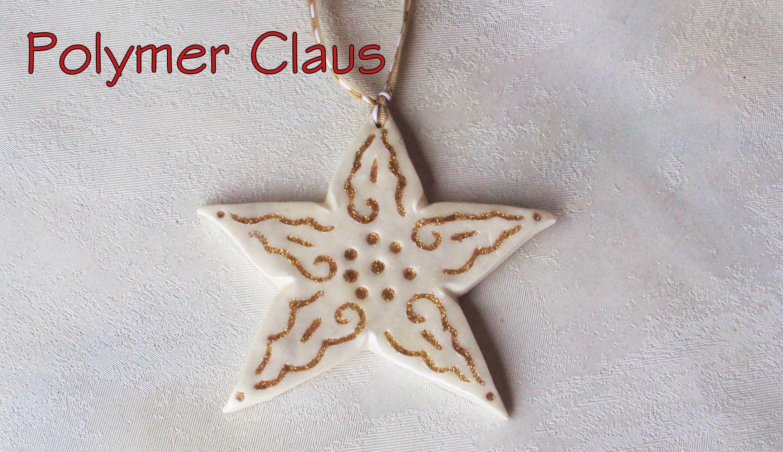 """Stelle """"Oro e Bianco"""" decorazioni per l'albero di Natale  (polymer clay tutorial)"""