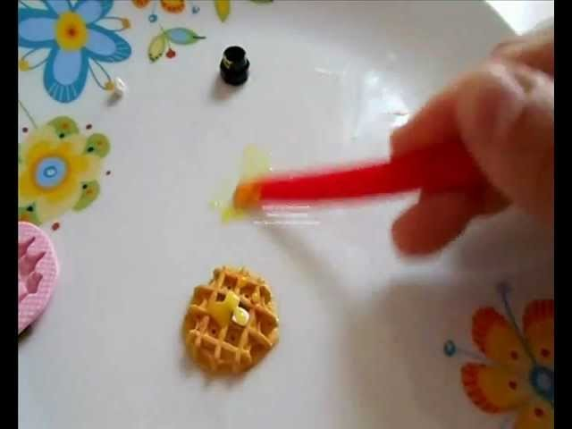 Tutorial: cialda waffle con burro e sciroppo (tutorial polymer clay)