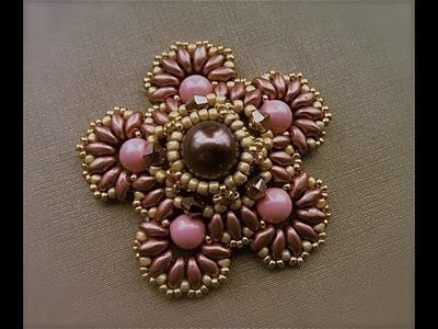 Tutorial con perline: Fiore di pizzo, ciondolo con perle superduo swarovski