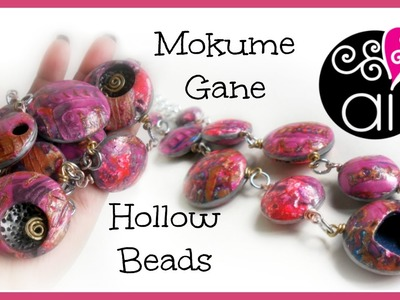 Bubbles Necklace | Polymer Clay Tutorial | Mokume Gane with Alcohol Inks | Hollow Beads