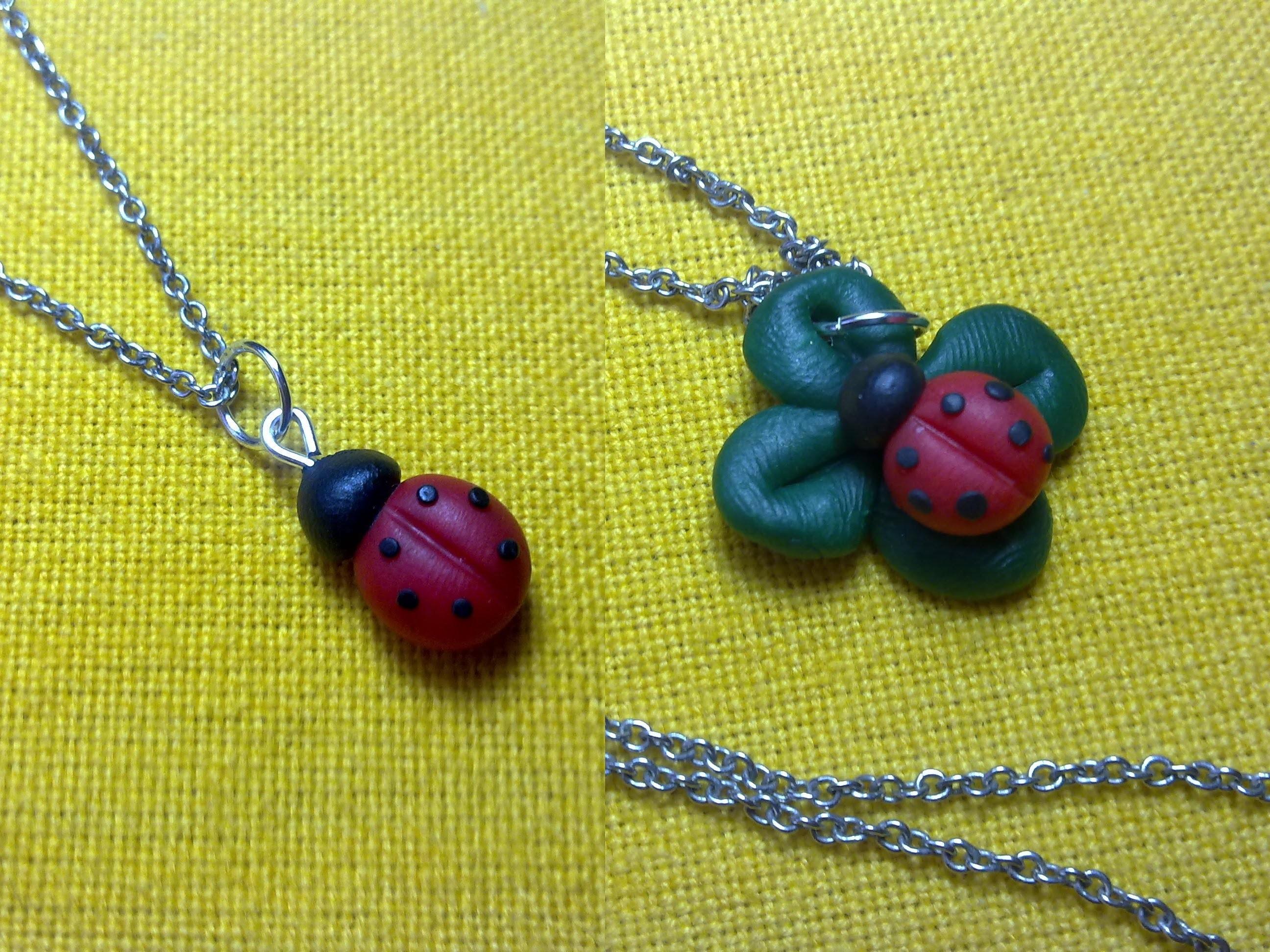 Coccinella + Coccinella & Quadrifoglio. Ladybug + Cloverleaf *Charm* (Polymer Clay Tutorial)