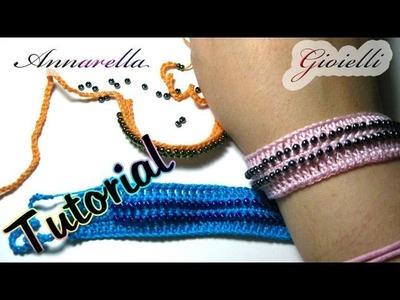 Tutorial | Come inserire le perline all'uncinetto | Bracciale | Crochet bracelet with beads