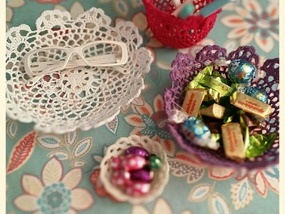 Tutorial come solidificare lavori all`uncinetto.Diy lace bowl.