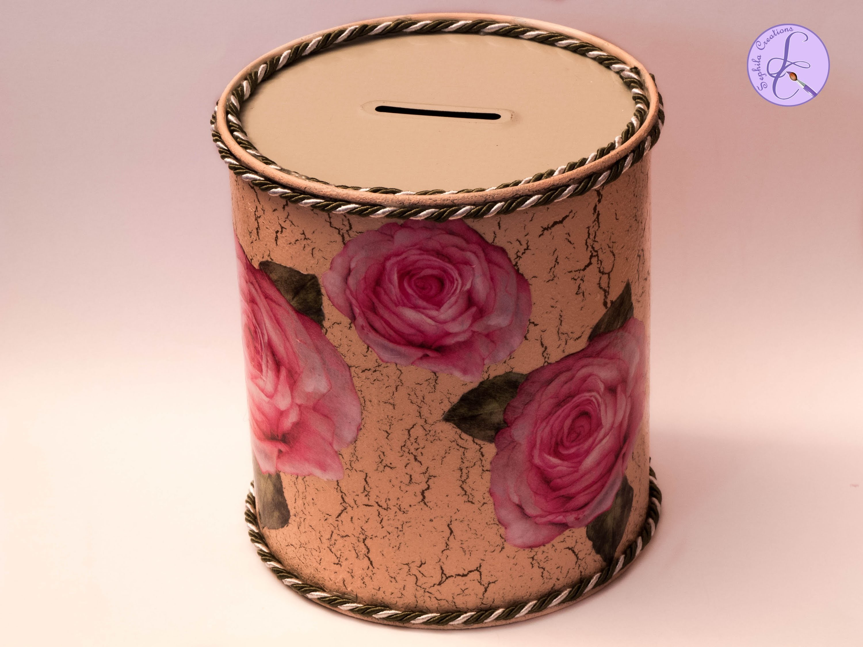 Tutorial: Salvadanaio di metallo con decoupage e cracklè (metal money box) [eng-sub]