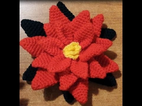 Tutorial stella di Natale all'uncinetto  amigurumi - poinsettia crochet -