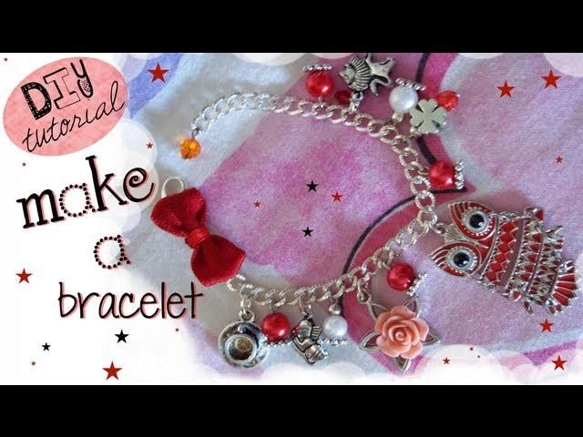 TUTORIAL: Bracciale con Gufetto, perle e charms - ✂ - DIY Easy BRACELET