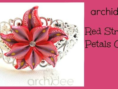 Tutorial | Polymer Clay | Red Stripes Petals Millefiori Cane | Murrina | DIY