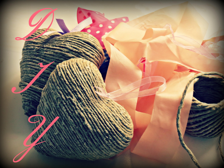 DIY: shabby chic cuoricini in corda. DIY: shabby chic rope's hearts | Ste pi