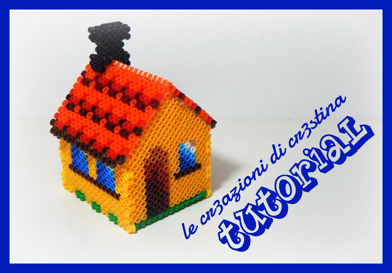 Tutorial Casetta Salvadanaio 3D con Hama beads midi - Collaborazione con www.perlinedastirare.it