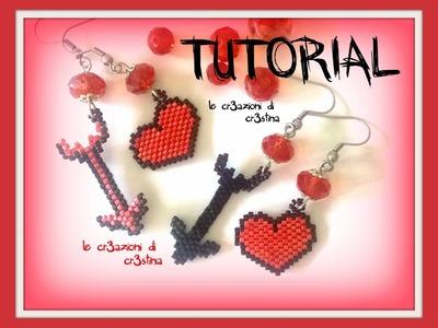 Tutorial Orecchini CUPIDO San Valentino - Cuore Freccia Peyote. Brick Stitch con Perline (1 Parte)