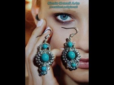 DIY  Orecchini Symply - con  bicono swarovski e perle di pasta di turchese