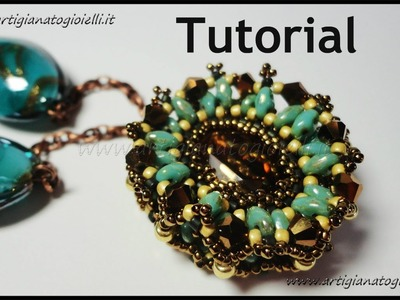 Tutorial perline: Come fare un ciondolo con superduo e swarovski - 2 parte