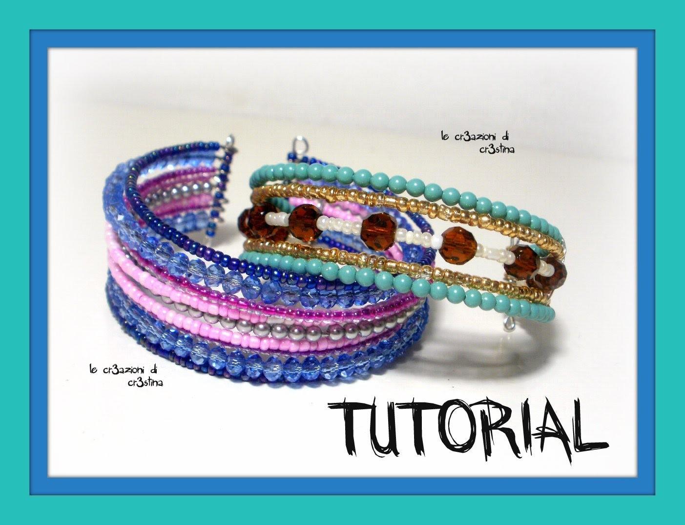 Tutorial Bracciale Odalisca con Molla Armonica, Perline di Conteria, Mezzi Cristalli - Principianti