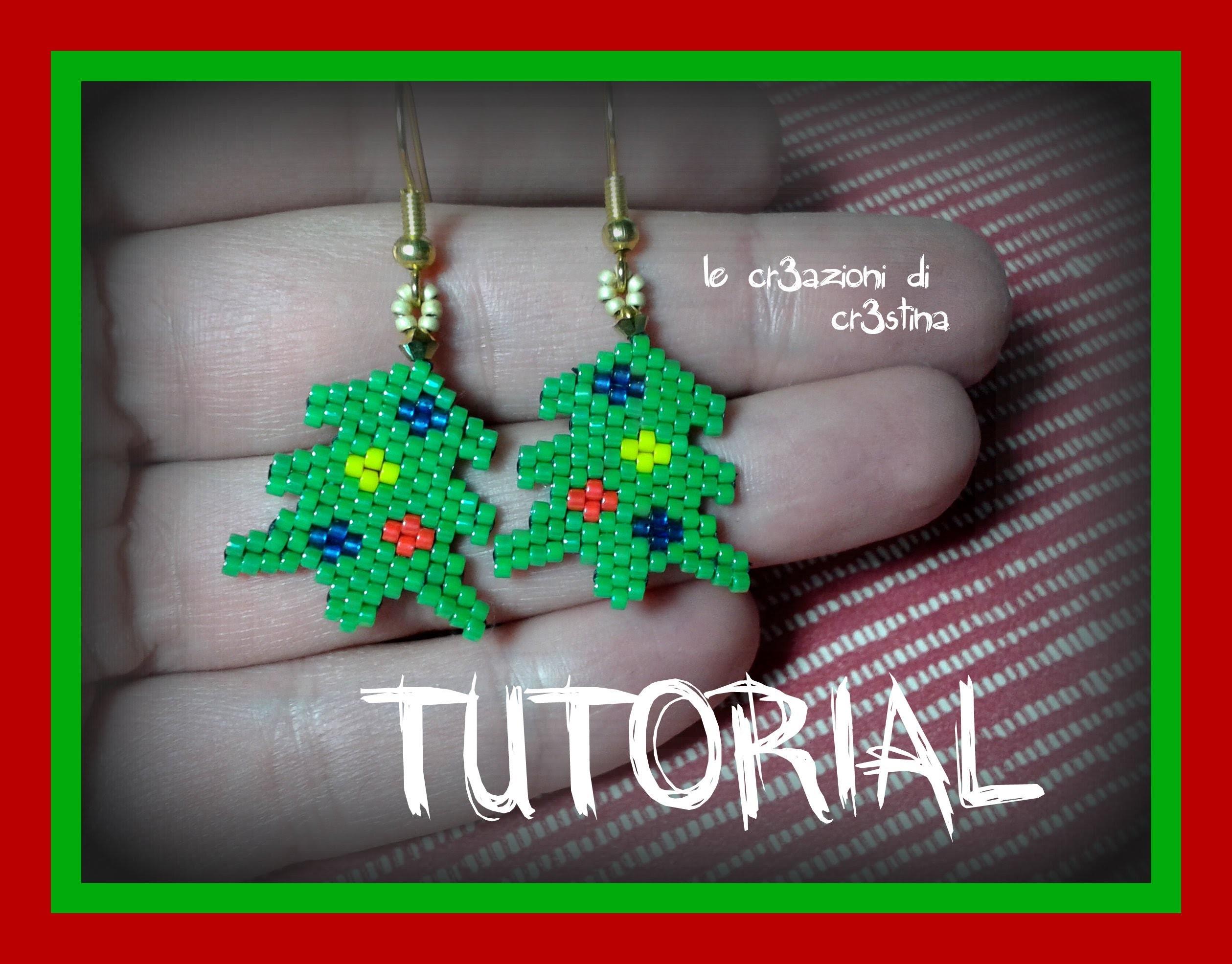 Tutorial Orecchini Albero di Natale. Christmas Tree - Tecnica Base Perline Peyote Brick Stitch