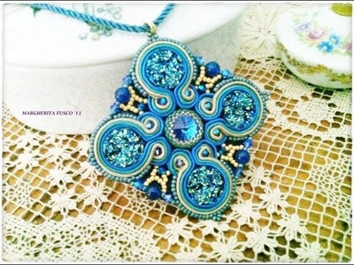 Video Creazioni bijoux, collana embroidery, orecchini e ciondolo soutache Beadwork, perle, perline