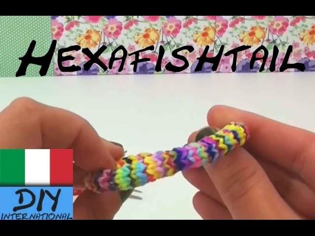 Come realizzare un braccialetto Loom Hexafisch con una forchetta
