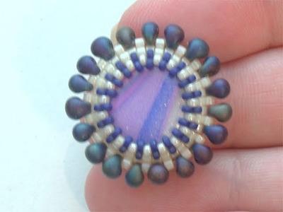 Sarubbest - Orecchino con perline: disco in Fimo incastonato al Peyote | Nuove Creazioni