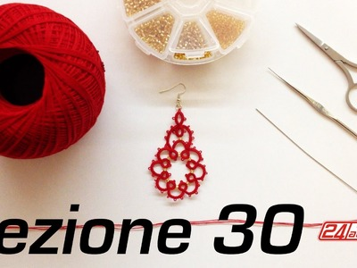Chiacchierino Ad Ago - 30˚ Lezione Orecchino Con Perline Bijoux Tutorial Needle Tatting Stitch Count