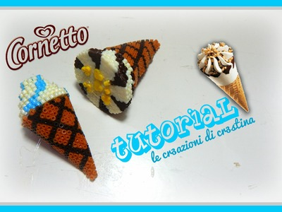 Tutorial Cono Gelato e Cornetto Algida con HAMA BEADS - DIY Ice Cream Cone Charm