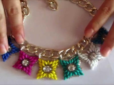 TUTORIAL PERLINE- Collana Multicolor con catena piatta