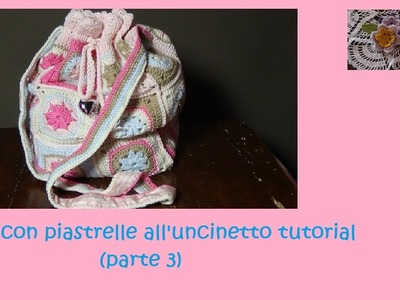 Borsa con piastrelle all'uncinetto tutorial (parte 3)