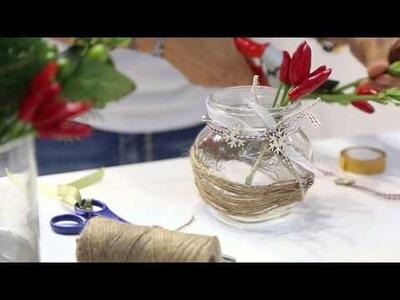 Decorare vasetti di vetro: Centrotavola natalizio Quattro Stagioni