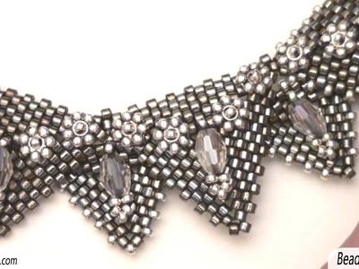 Sarubbest: campione di collana con triangoli al Peyote - Collana con perline Sarubbest