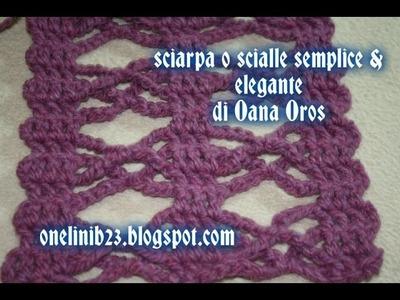 Sciarpa o scialle semplice & elegante all'uncinetto