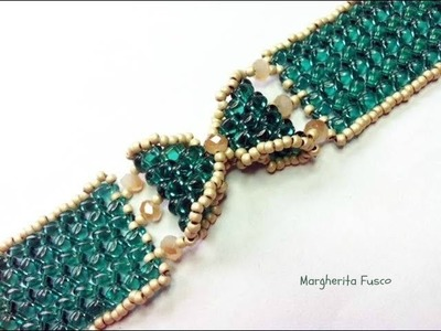 Tutorial come fare un bracciale a fiocco con perline superduo. twin  braccialetto Papillon