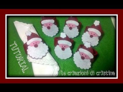 Come Realizzare Portatovaglioli Natalizi Babbo Natale con il Feltro - Tutorial di Natale
