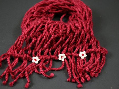 Tutorial sciarpa di lana con lavorazione senza ferri solo con l'uso delle mani