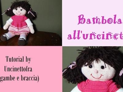 Bambola all'uncinetto tutorial (braccia e gambe)