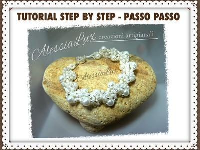 DIY tutorial bracciale da sposa con perline perle e cristalli- italian-English gioielli fai da te