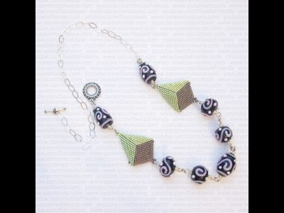 Sarubbest - Collana con lampwork e rombi di perline fatti al Peyote | Nuova Creazione