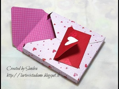 Scrapbooking tutorial:Scatola 3d con envelope punch board - Box 3d - Packaging tutorial