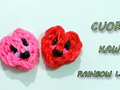 ♥ TUTORIAL: CHARM CUORE  KAWAII CON ELASTICI RAINBOW LOOM