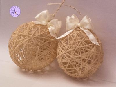 Tutorial: Palline di Natale shabby con lana (Christmas wool balls) [eng-sub]