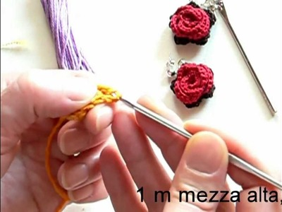 Video tutorial orecchino ad uncinetto con rosa rossa parte 2
