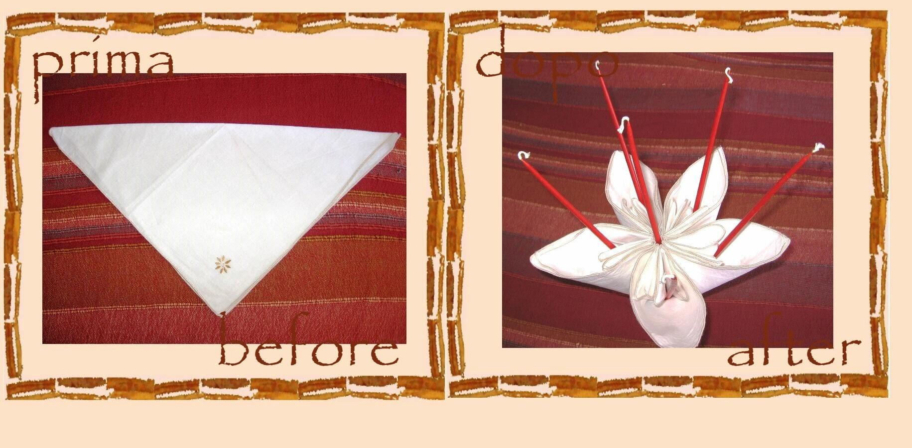 Riciclo creativo tovaglioli: fiore origami di stoffa -tutorial- Pasqua 2015