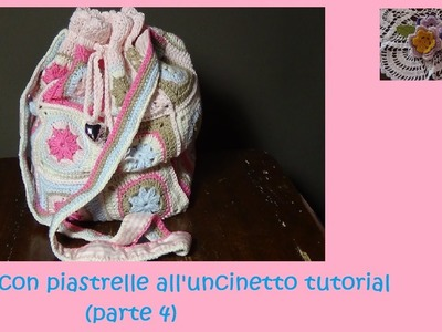 Borsa con piastrelle all'uncinetto tutorial (parte 4)