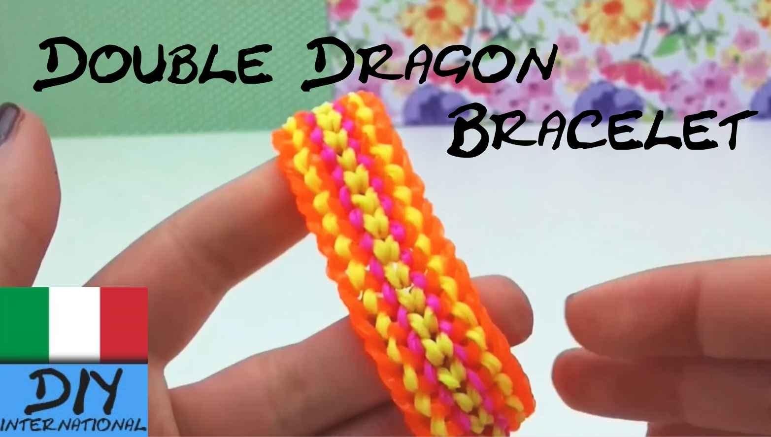 Braccialetti con elastici DOUBLE DRAGON in Italinao Come Fare una Bracciale Drago con la forcella