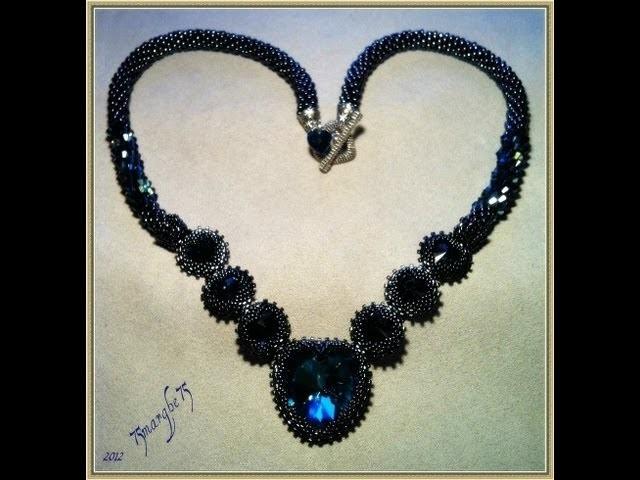 La mia collana di S Valentino, cuore incastonato a peyote