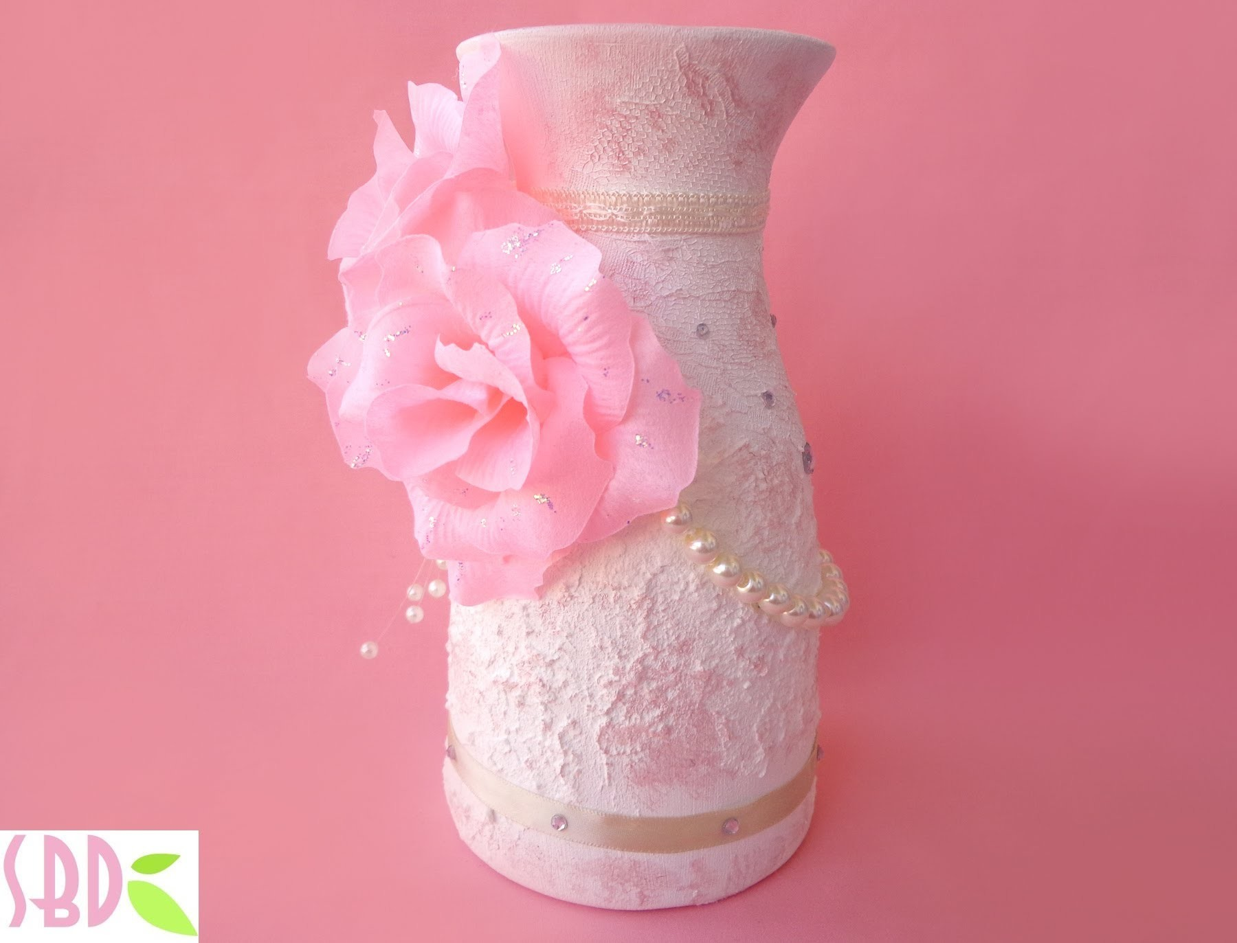 Mixed Media: Vaso Shabby Chic - Shabby Chic Vase