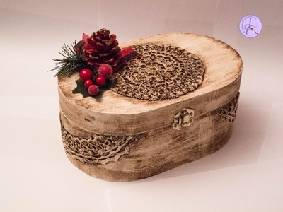 Tutorial: Scatola natalizia vintage con pizzi goffrè (christmas vintage box with lace) [eng-sub]