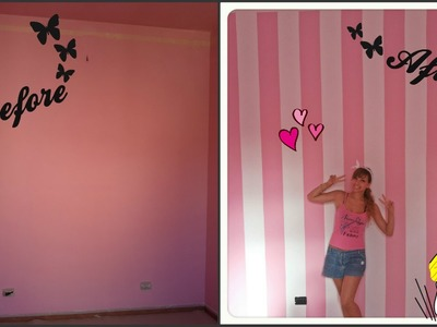 DIY • Striped wall ❀ Dipingere parete a righe |Cherry BloomPink