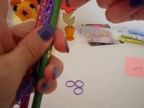 Rainbow Loom- braccialetto con elastici modello semplice senza telaio