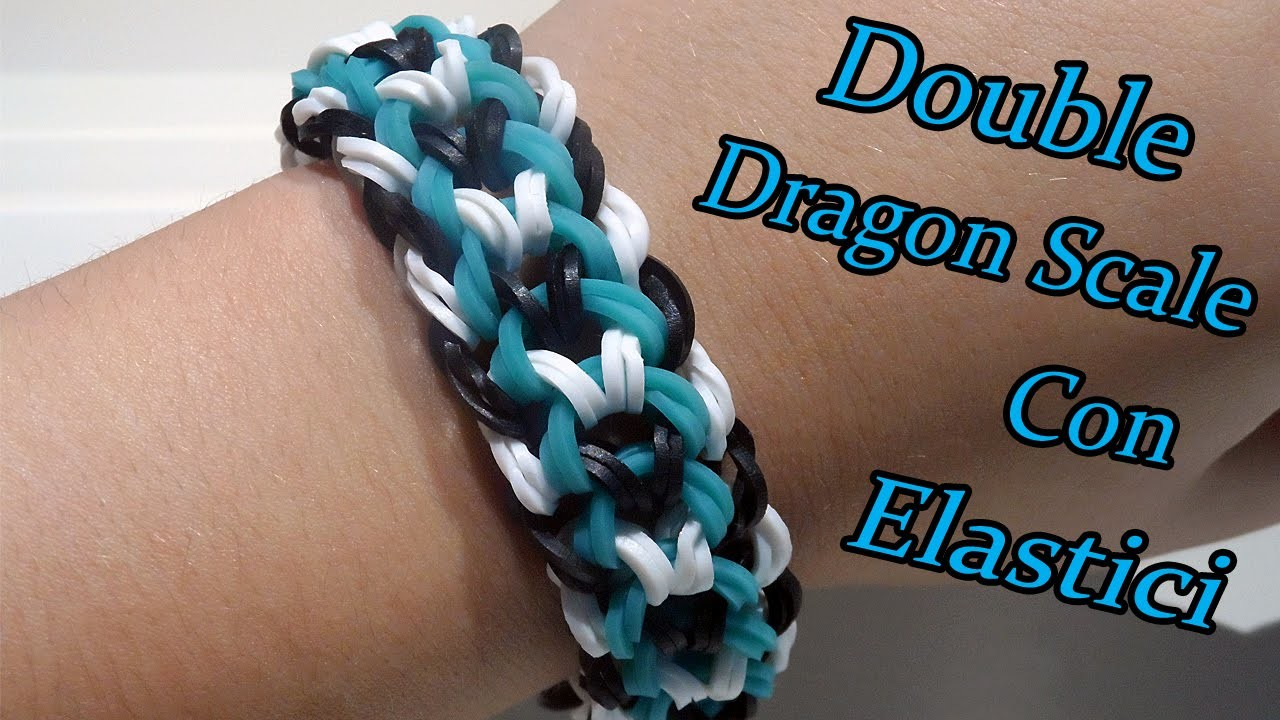 ♥ Braccialetto Double-Banded Dragon Scale Con  Elastici Rainbow Loom Tutorial ♥