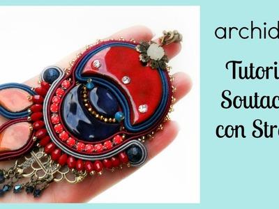 Soutache | Sutasz | Tutorial | Ciondolo con Catene Strass | Perla di Ceramica